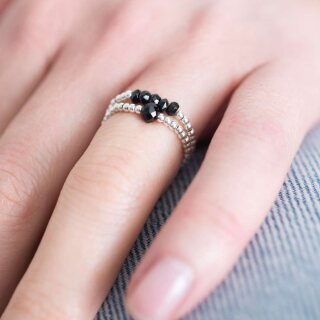 Sparkle BLACK ONYX Silver Ring S/M