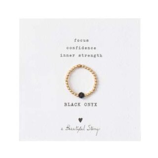 Sparkle BLACK ONYX Ring vergoldet S/M