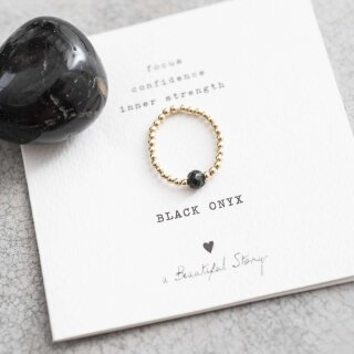 Sparkle BLACK ONYX Ring vergoldet M/L