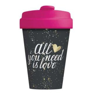Bambusbecher All you need is love Gold